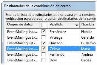 Combinar correspondencia con una hoja de cálculo de Excel - Word