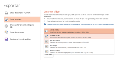 Captura de pantalla del cuadro de diálogo Exportar en el que se muestran las opciones disponibles al crear un vídeo con una presentación