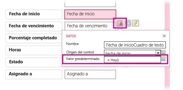 Configuración del valor predeterminado de un campo de fecha en una aplicación de Access.