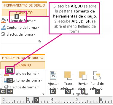 Nuevos métodos abreviados de teclado con dos letras al abrir la pestaña Herramientas de dibujo.