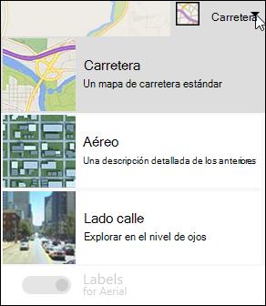 Tipo de mapa del elemento Web mapa de Bing