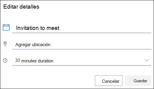 Cuadro de diálogo Editar invitación