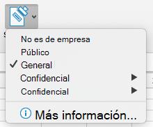 Botón de sensibilidad con opciones de confidencialidad mostradas