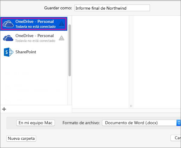 Para guardar el documento en OneDrive u otra ubicación en línea, haga clic en Ubicaciones en línea.