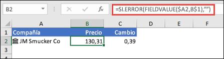 """Recuperar un precio de cotizaciones de empresa y omitir errores con =SI.ERROR(FIELDVALUE($A2,B$1),"""""""")"""