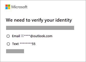 Captura de pantalla de opciones para comprobar la identidad