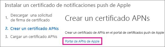 Vaya al portal de certificados push de Apple para crear el certificado.