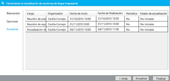 Captura de pantalla de actualización de la herramienta de migración de reuniones