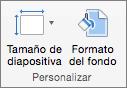 Captura de pantalla en la que se muestra el grupo Personalizar con las opciones de Tamaño de diapositiva y Formato del fondo.