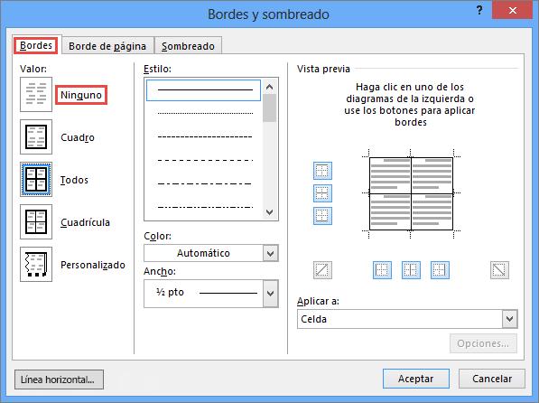 Cuadro de diálogo Bordes y sombreado de Outlook 2010 para tablas