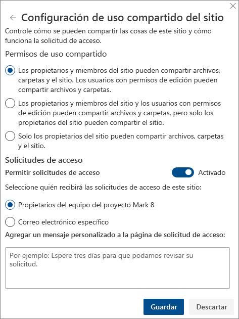 Captura de pantalla del panel Configuración de uso compartido del sitio.