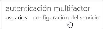 La página de autenticación multifactor con el icono de mano sobre el vínculo de configuración del servicio.