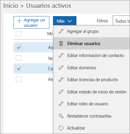 Elimine varias cuentas de usuario del Centro de administración de Office 365.