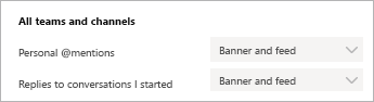 Imagen de la configuración de notificaciones de teams que muestra cómo obtener notificaciones en Teams y como una notificación emergente.
