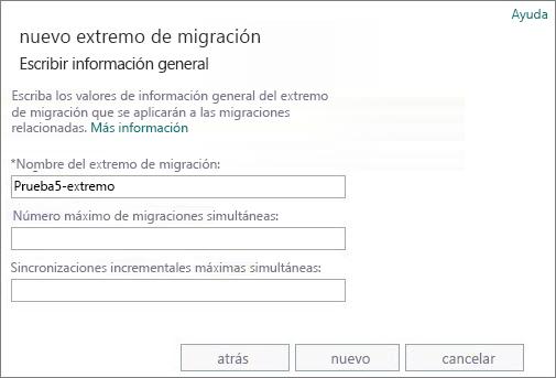 Nombre del extremo de migración.