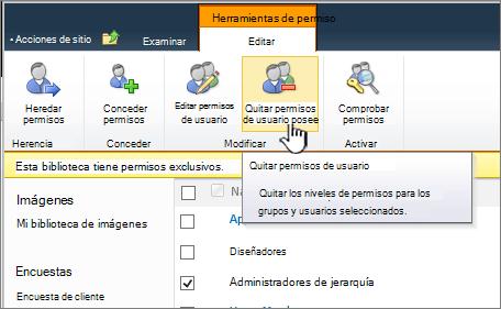 El botón Quitar permisos de usuario