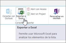 Botón Exportar a Excel de SharePoint resaltado en la cinta