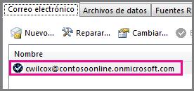 Una cuenta en el diálogo Configuración de la cuenta en Outlook 2013