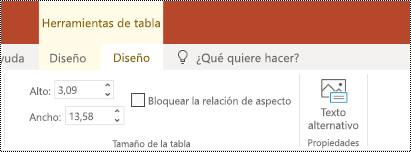 Botón texto alternativo en la cinta de opciones de una tabla en PowerPoint online.