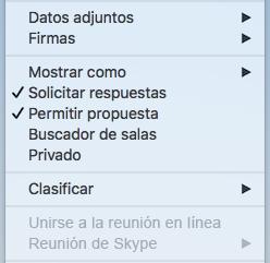 Menú de reunión en reunión de Skype deshabilitado