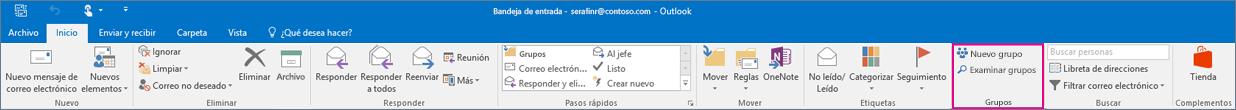 Opciones de grupos en la cinta principal de Outlook