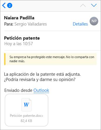 Sugerencia de seguridad: Su compañía ha protegido este mensaje con Office 365.