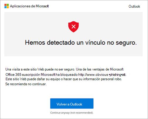Una captura de pantalla de la pantalla de advertencia de vínculo no seguras