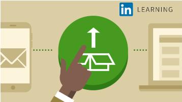 Muestra una tarjeta con la ilustración de una mano que apunta a una caja que se está abriendo. Representa el curso llamado Implementación de Office 365.