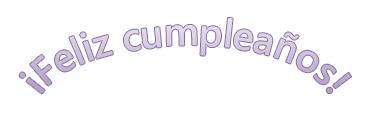 """Un ejemplo de WordArt que dice """"Feliz cumpleaños"""" con texto curvado."""