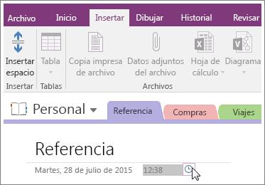 Captura de pantalla de cómo cambiar la marca de tiempo en una página de OneNote 2016.