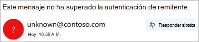 Captura de pantalla de un signo de interrogación en la imagen del remitente