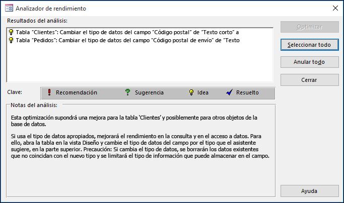 Diálogo Resultados de Performance Analyzer después de ejecutarse en una base de datos de Access.