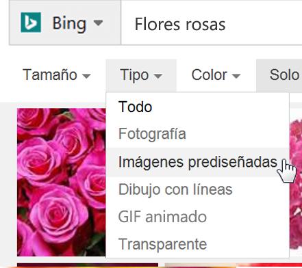 Seleccione el filtro Tipo y elija Imagen prediseñada