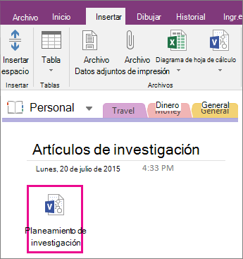 Captura de pantalla de cómo adjuntar un archivo de Visio a una página en OneNote 2016.