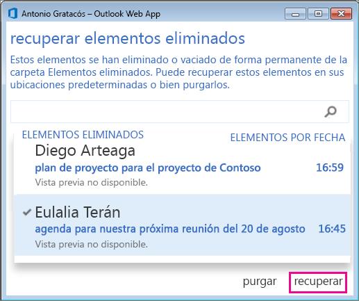 Cuadro de diálogo Recuperar elementos eliminados en Outlook Online