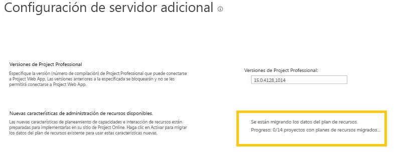 Project Online: en el cuadro de diálogo Configuración adicional del servidor se muestra el progreso de la migración de datos del planeamiento de recursos