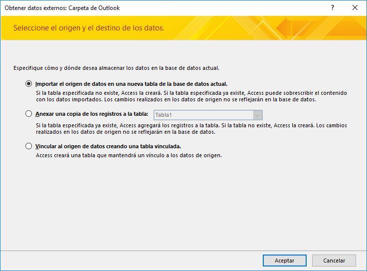 Seleccione esta opción para importar, anexar o vincular a una carpeta de Outlook.