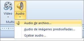 Menú de audio