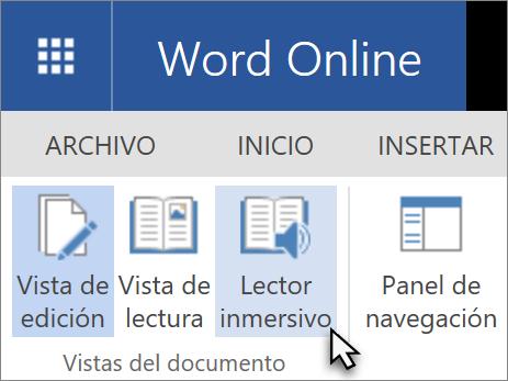 Abrir herramientas de aprendizaje de Word en línea, seleccione la ficha Ver