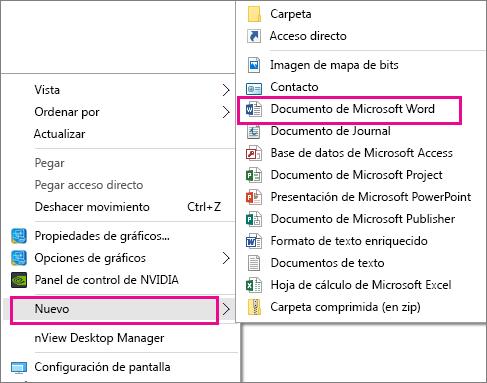 En el escritorio, seleccione Nuevo y, a continuación, seleccione la aplicación para el documento que quiere crear.
