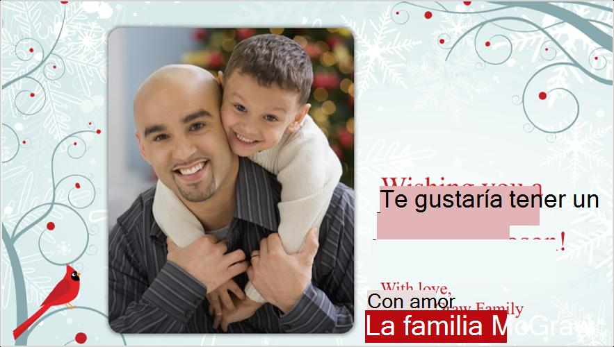 Imagen de una tarjeta de felicitación de Navidad con un padre y un hijo