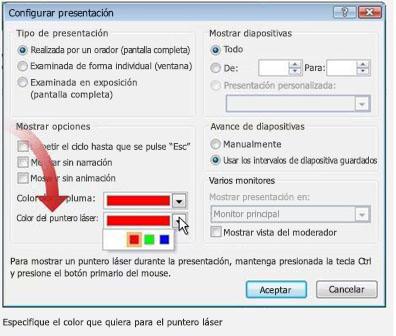 El cuadro de diálogo Configurar presentación, para cambiar el color del puntero láser