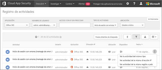 El registro de actividad de entidades emisoras de certificados de O365 contiene detalles como intentos de inicio de sesión con una cuenta de usuario