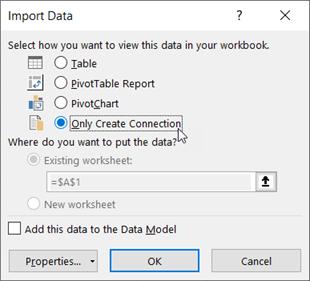Cuadro de diálogo Importar datos con la opción crear solo una conexión seleccionada