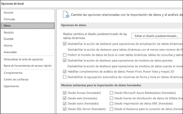 Opciones de datos se han movido desde archivo > Opciones > avanzadas de sección a una ficha nueva denominada datos en archivo > Opciones.