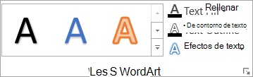 El grupo Estilos de WordArt