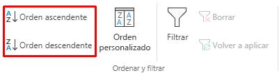 Botones seleccionados de orden ascendente y orden descendente