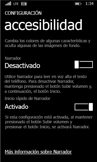 Configuración de narrador de Windows Phone
