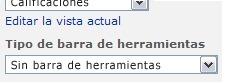 Panel de herramientas del elemento web con la opción Sin barra de herramientas seleccionada en la lista Tipo de barra de herramientas.
