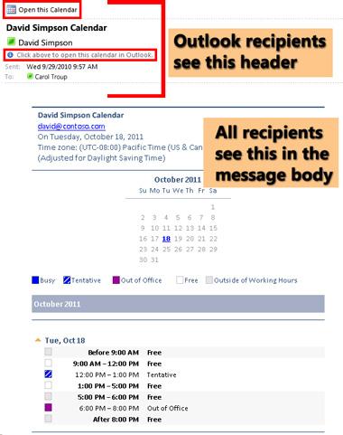 Ejemplo de un calendario recibido utilizando la característica Calendario de correo electrónico